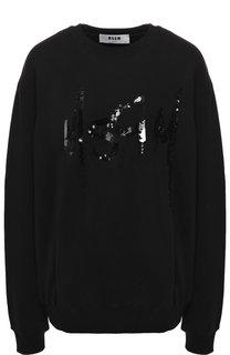 Хлопковый пуловер с пайетками MSGM