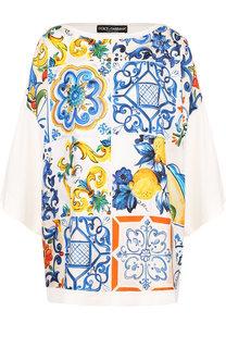 Шелковый пуловер с принтом Dolce & Gabbana