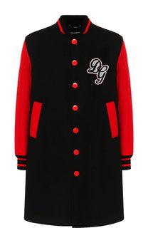 Шерстяное однобортное пальто с контрастной отделкой Dolce & Gabbana