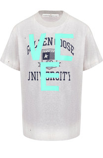 Хлопковая футболка с открытой спиной Golden Goose Deluxe Brand