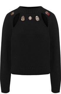 Пуловер из смеси шерсти и кашемира с открытой спиной Alexander McQueen