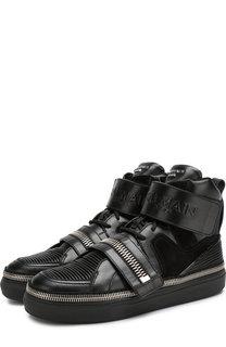 Высокие кожаные кроссовки на шнуровке с застежкой велькро Balmain
