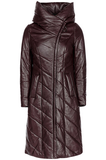 Утепленное пальто из натуральной кожи La Reine Blanche