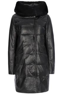 Утепленное кожаное пальто с отделкой мехом кролика La Reine Blanche