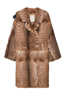 Меховое пальто с цветной отделкой Color Temperature