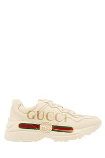 Кожаные кроссовки с логотипом Gucci