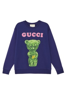 Синий свитшот с принтом Gucci