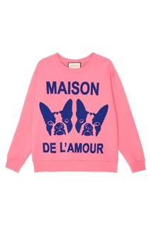 Розовый свитшот с принтом Gucci
