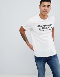 Белая футболка с принтом логотипа Abercrombie & Fitch - Белый