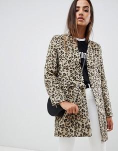 Строгое пальто с леопардовым принтом Missguided - Мульти
