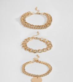 Набор золотистых браслетов с толстыми цепочками Missguided - Золотой