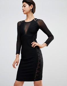 Платье с полупрозрачными вставками Forever Unique - Черный