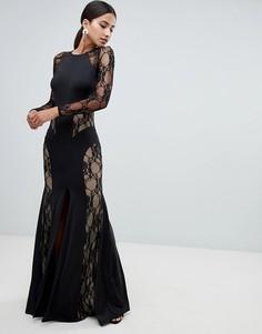 ed9a8fa7d38 Платье макси с кружевными вставками Forever Unique - Черный
