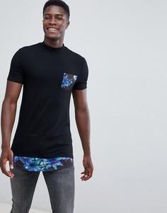 Длинная обтягивающая футболка с высоким воротником и цветочным принтом на кармане и вставке по нижнему краю ASOS DESIGN - Белый