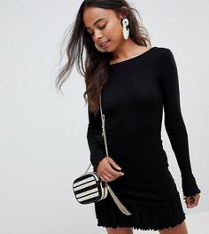 0536030fa96 Платье мини с глубоким вырезом на спине и оборкой ASOS DESIGN Petite -  Черный