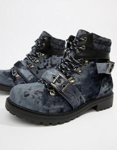Бархатные походные ботинки Pieces - Серый