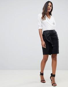 Кожаная мини-юбка со сборками Y.A.S - Черный