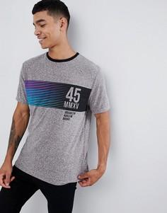 Свободная футболка в крапинку с принтом на груди ASOS DESIGN - Серый