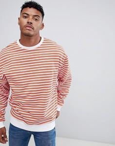 Oversize-свитшот с синими и оранжевыми полосками ASOS DESIGN - Белый