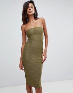 Бандажное платье-бандо миди цвета хаки Missguided - Зеленый