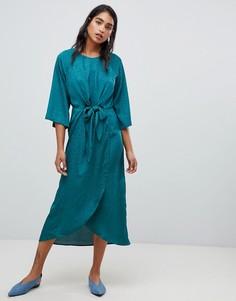 Платье с запахом и узелком Vila - Зеленый