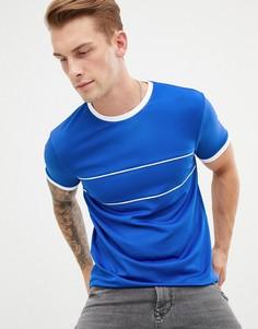 Удлиненная футболка в спортивном стиле ретро с окантовкой ASOS DESIGN - Синий
