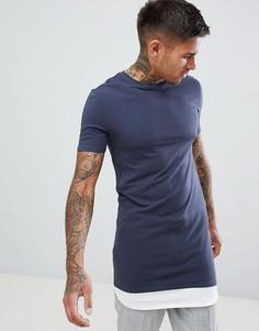 Серая обтягивающая футболка с контрастной вставкой на нижней кромке ASOS DESIGN - Серый