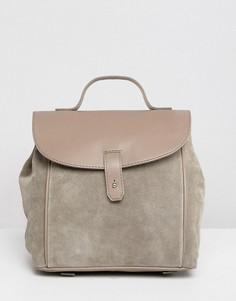 Рюкзак из кожи и замши ASOS DESIGN - Серый
