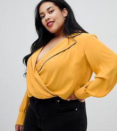 Боди в пижамном стиле с окантовкой ASOS DESIGN Curve - Желтый