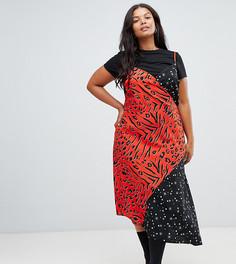 Платье миди на бретельках с запахом и звездно-звериным принтом ASOS DESIGN Curve - Мульти