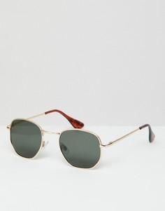 Золотистые круглые солнцезащитные очки AJ Morgan - Золотой