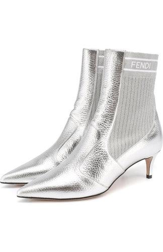 Ботильоны из металлизированной кожи с эластичной вставкой на каблуке kitten heel Fendi