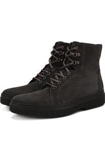 Кожаные высокие ботинки на шнуровке с внутренней меховой отделкой Tod's Tods