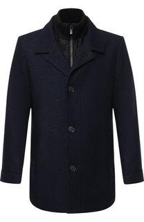 Однобортное пальто из смеси шерсти и вискозы с подстежкой HUGO