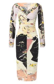 Платье-миди с драпировкой и принтом Emilio Pucci