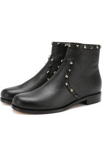 Кожаные ботинки Valentino Garavani Rockstud Rolling на низком каблуке Valentino