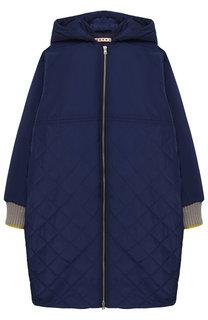 Стеганое пальто на молнии с капюшоном Marni