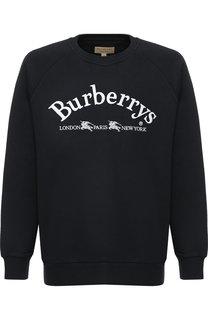 Хлопковый свитшот с логотипом бренда Burberry