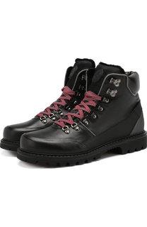 Кожаные высокие ботинки на шнуровке с внутренней меховой отделкой Bogner