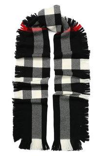 Шерстяной шарф в клетку с бахромой Burberry
