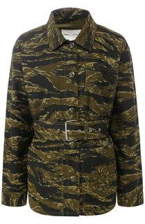 Хлопковая куртка с поясом и принтом Proenza Schouler