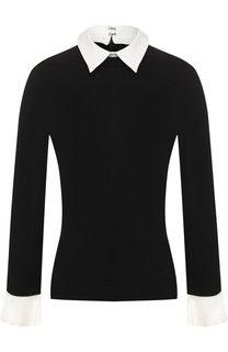 Шерстяной пуловер с контрастными манжетами и воротником Alice + Olivia