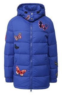 Стеганая куртка с декоративными нашивками и капюшоном Valentino