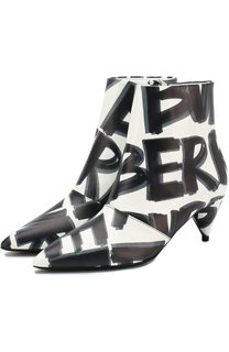 Кожаные ботильоны с принтом на каблуке kitten heel Burberry