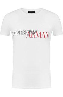 Хлопковая футболка с принтом Emporio Armani