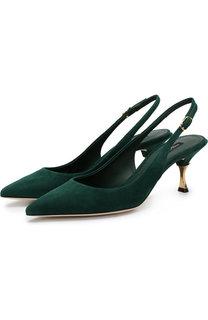 Замшевые туфли Cardinale с открытым задником на каблуке kitten heel Dolce & Gabbana