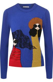 Шерстяной пуловер с вышитым принтом Alice + Olivia