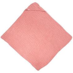 Муслиновое полотенце с капюшоном Jollein, 100х100 см (Коралловый)