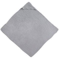 Муслиновое полотенце с капюшоном Jollein, 100х100 см (Серый)