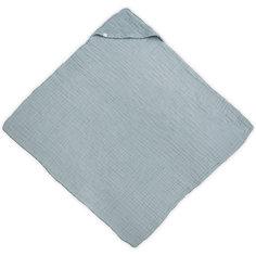 Муслиновое полотенце с капюшоном Jollein, 100х100 см (Серо-зеленый)